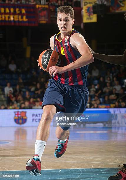 Mario Hezonja #8 of FC Barcelona in action during the 20142015 Turkish Airlines Euroleague Basketball Regular Season Date 7 game between FC Barcelona...