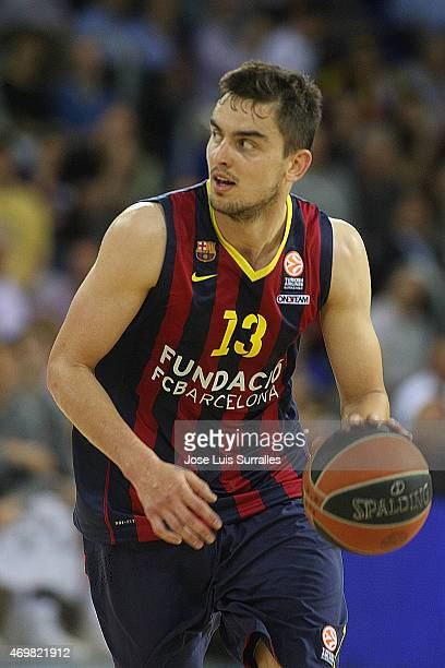 Mario Hezonja #8 of FC Barcelona in action during the 20142015 Turkish Airlines Euroleague Basketball Play Off Game 1 between FC Barcelona v...