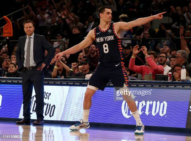 Mario Hezonja of the New York Knicks celebrates his three point shot by pointing to the Washington Wizards bench at Madison Square Garden on April 07...