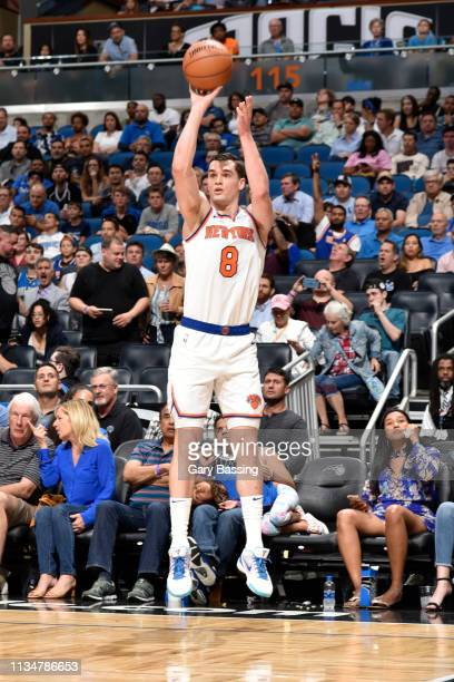 Mario Hezonja of the New York Knicks shoots a three point basket against the Orlando Magic on April 3 2019 at Amway Center in Orlando Florida NOTE TO...