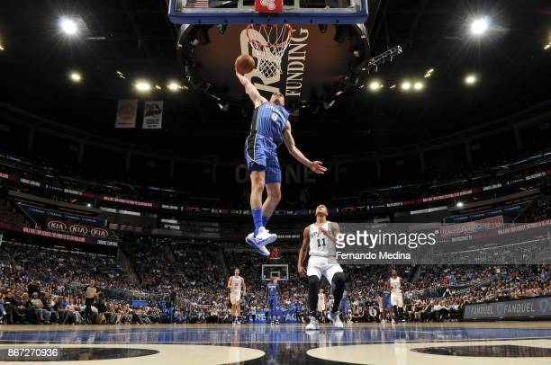 Mario Hezonja of the Orlando Magic drives to the basket against the San Antonio Spurs on October 27 2017 at Amway Center in Orlando Florida NOTE TO...