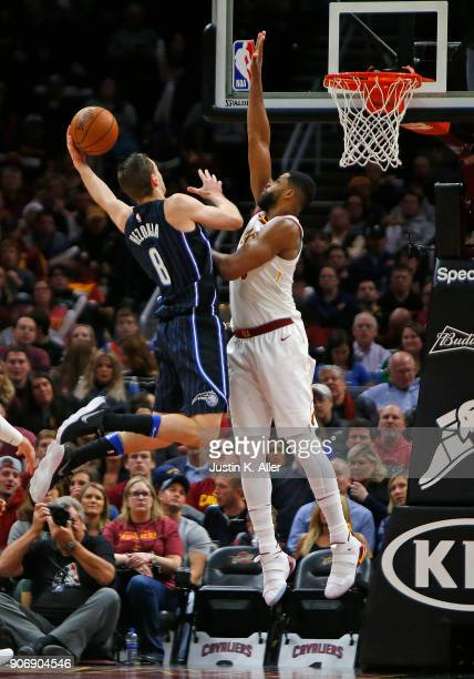 Mario Hezonja of the Orlando Magic drives to the rim against Jeff Green of the Cleveland Cavaliers at Quicken Loans Arena on January 18 2018 in...