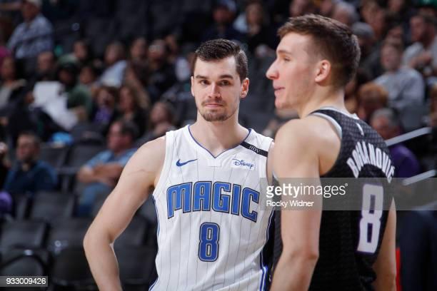 Mario Hezonja of the Orlando Magic faces off against Bogdan Bogdanovic of the Sacramento Kings on March 9 2018 at Golden 1 Center in Sacramento...