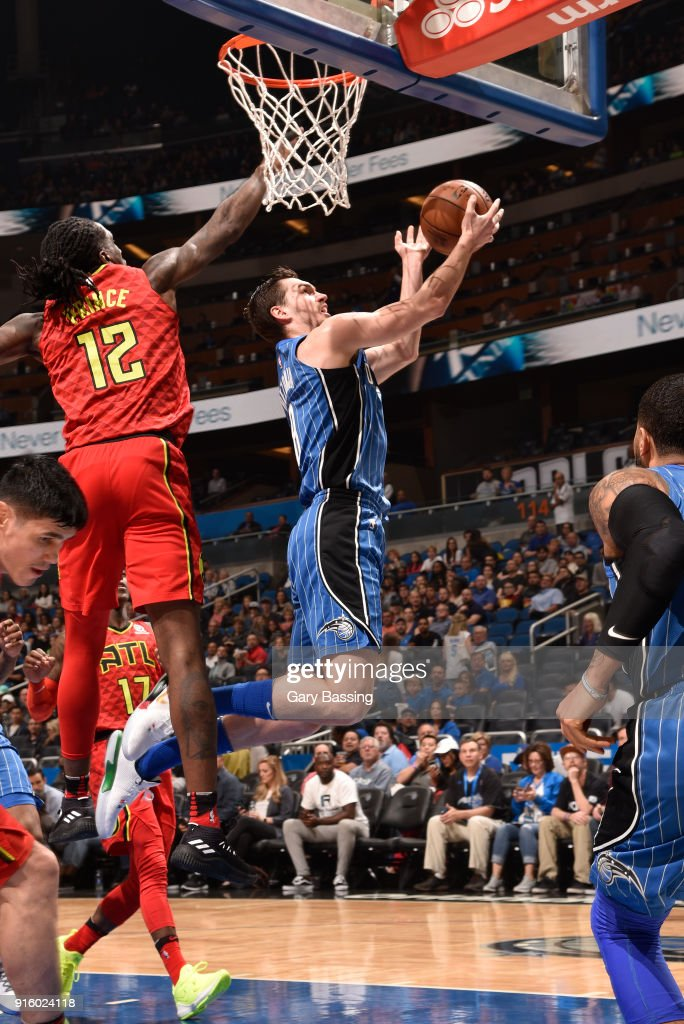 Mario Hezonja #8 of the Orlando Magic goes to the basket against the Atlanta Hawks on February 8, 2018 at the Amway Center in Orlando, Florida.