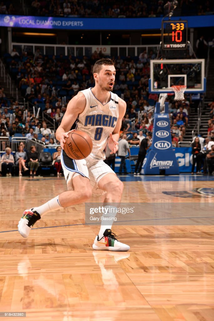 Mario Hezonja #8 of the Orlando Magic handles the ball against the Charlotte Hornets on February 14, 2018 at Amway Center in Orlando, Florida.