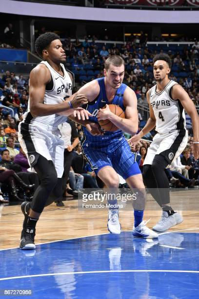 Mario Hezonja of the Orlando Magic handles the ball against the San Antonio Spurs on October 27, 2017 at Amway Center in Orlando, Florida. NOTE TO...