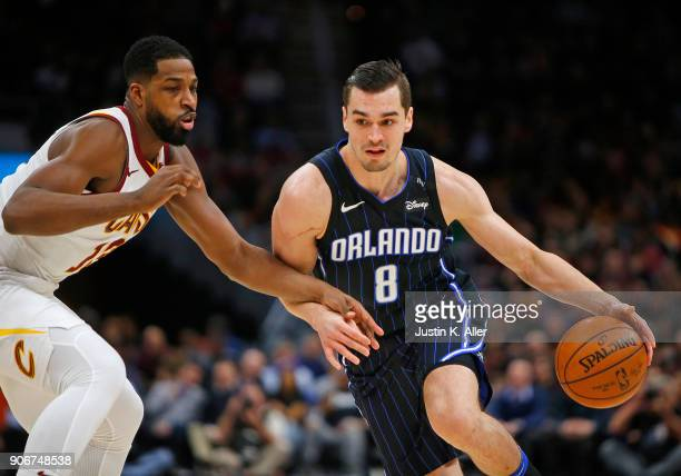 Mario Hezonja of the Orlando Magic handles the ball against Tristan Thompson of the Cleveland Cavaliers at Quicken Loans Arena on January 18 2018 in...