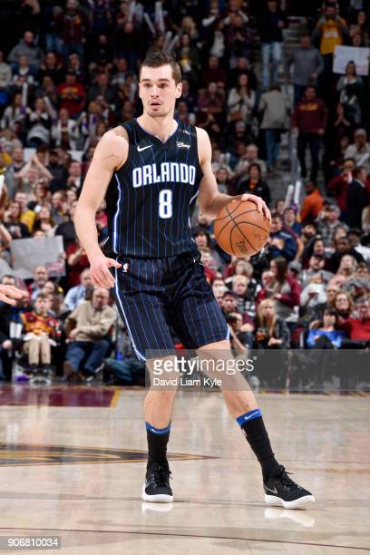 Mario Hezonja of the Orlando Magic handles the ball during the game against the Cleveland Cavaliers on January 18 2018 at Quicken Loans Arena in...