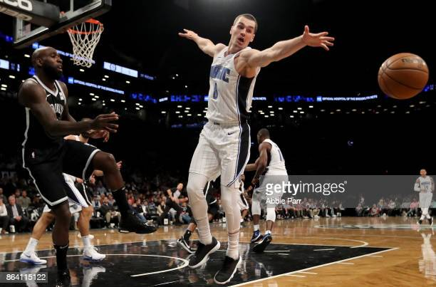 Mario Hezonja of the Orlando Magic reaches for the ball in the second half against the Orlando Magic during their game at Barclays Center on October...
