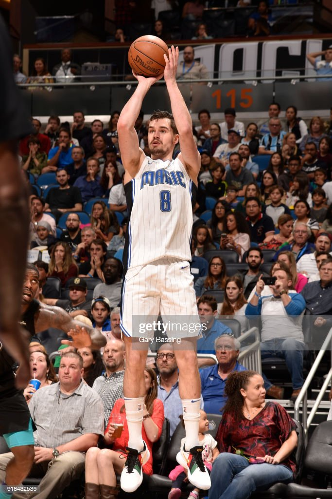 Mario Hezonja #8 of the Orlando Magic shoots the ball against the Charlotte Hornets on February 14, 2018 at Amway Center in Orlando, Florida.