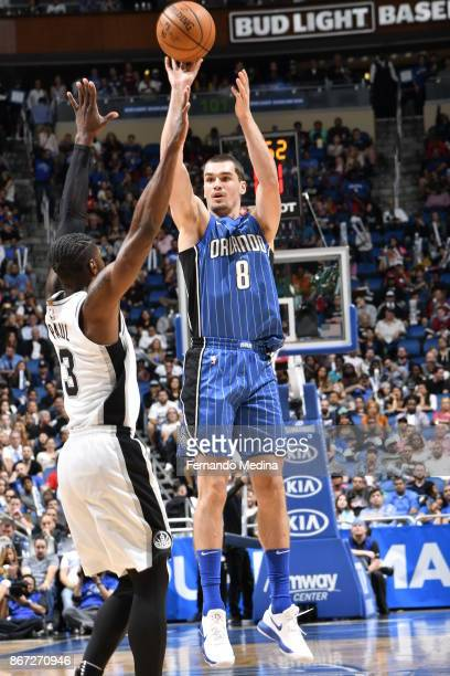 Mario Hezonja of the Orlando Magic shoots the ball against the San Antonio Spurs on October 27, 2017 at Amway Center in Orlando, Florida. NOTE TO...