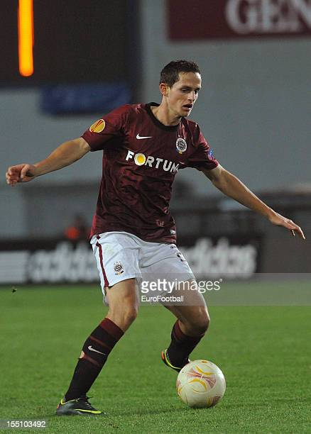 Mario Holek of AC Sparta Praha in action during the UEFA Europa League group stage match between AC Sparta Praha and Hapoel Kiryat Shmona FC held on...