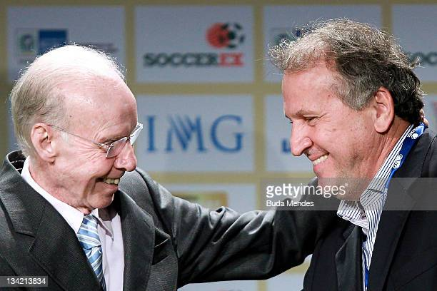 Mario Jorge Zagallo Brazilian former player and coach of the national team and Zico during the opening conference of Soccerex Global Convention at...