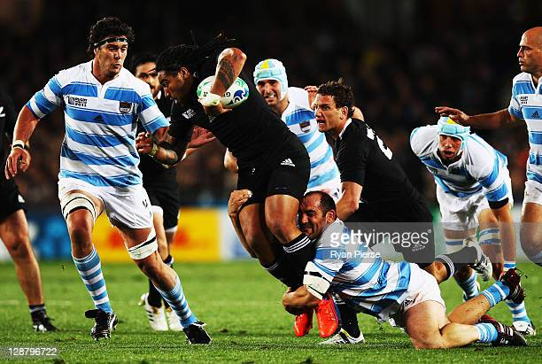 Mario Ledesma Arocena of Argentina tackles Ma'a Nonu of the All Blacks during quarter final four of the 2011 IRB Rugby World Cup between New Zealand...
