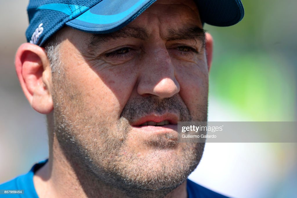 Mario Ledesma forwards coach of Australia looks on during the Australia Team Announcement and Training Session ahead of the match against Argentina at San Isidro Club on October 05, 2017 in Buenos Aires, Argentina.