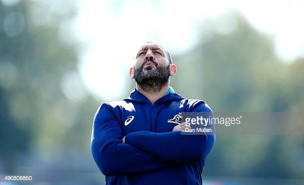 Mario Ledesma, Scrum Coach of Australia looks on during a training session at Dulwich College on October 1, 2015 in London, United Kingdom.