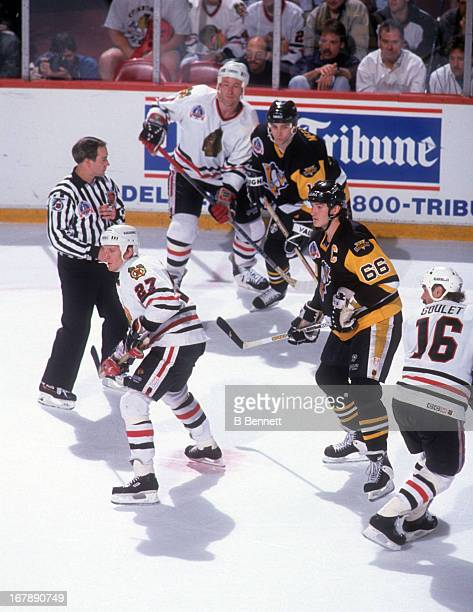 Mario Lemieux and Shawn McEachern of the Pittsburgh Penguins along with Jeremy Roenick Michel Goulet and Steve Konroyd of the Chicago Blackhawks...