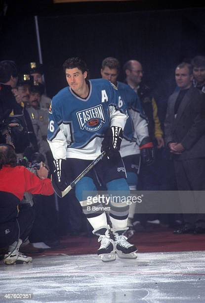Mario Lemieux of the Eastern Conference and Pittsburgh Penguins is introduced before the 1996 46th NHL All-Star Game against the Western Conference...