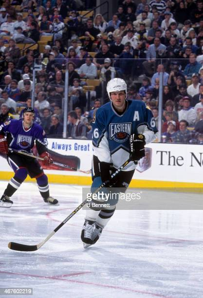 Mario Lemieux of the Eastern Conference and the Pittsburgh Penguins skates on the ice during the 1996 46th NHL All-Star Game against the Western...