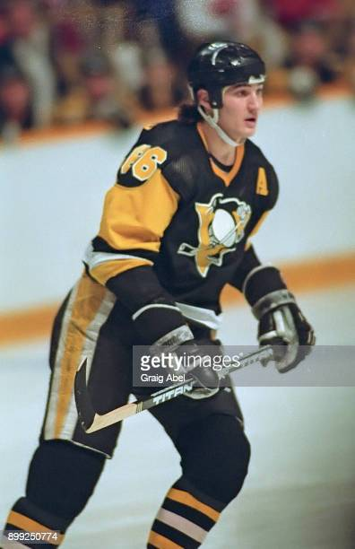 Mario Lemieux of the Pittsburg Penguins skates against the Toronto Maple Leafs during NHL game action on December 13 1986 at Maple Leaf Gardens in...