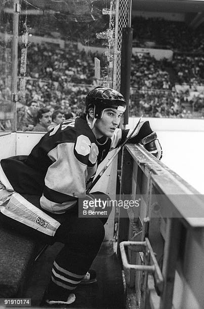 Mario Lemieux of the Pittsburgh Penguins sits in the penalty box during an NHL game against the New York Islanders on January 2 1988 at the Nassau...
