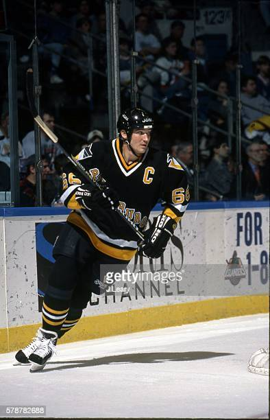 Mario Lemieux of the Pittsburgh Penguins skates during the game against the New York Islanders at the Nassau Coliseum on January 7, 1997 in...
