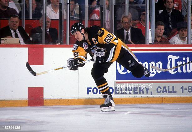 Mario Lemieux of the Pittsburgh Penguins skates on the ice during Game 3 of the 1992 Stanley Cup Finals against the Chicago Blackhawks on May 30,...