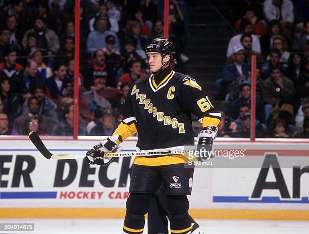 Mario Lemieux of the Pittsburgh Penguins skates on the ice during the game against the Philadelphia Flyers on March 2 1993 at the Spectrum in...