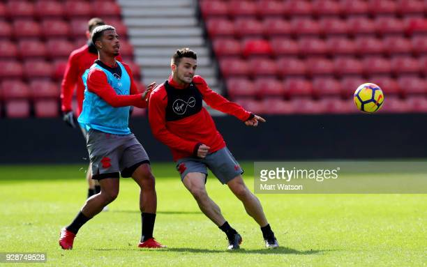 Mario Lemina and Dusan Tadic during a Southampton FC training session at St Marys stadium on March 7 2018 in Southampton England
