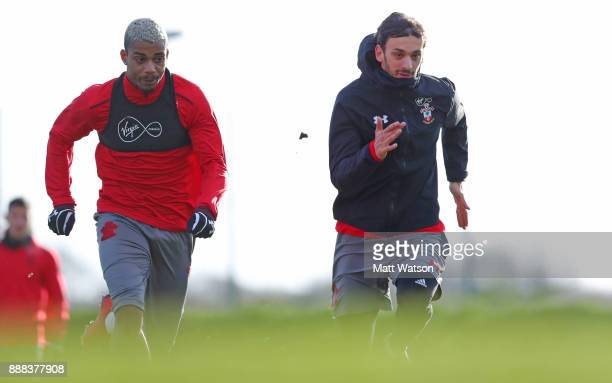 Mario Lemina and Manolo Gabbiadini during a Southampton FC training session at the Staplewood Campus on December 8 2017 in Southampton England