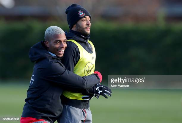 Mario Lemina and Nathan Redmond during a Southampton FC training session at the Staplewood Campus on December 1 2017 in Southampton England