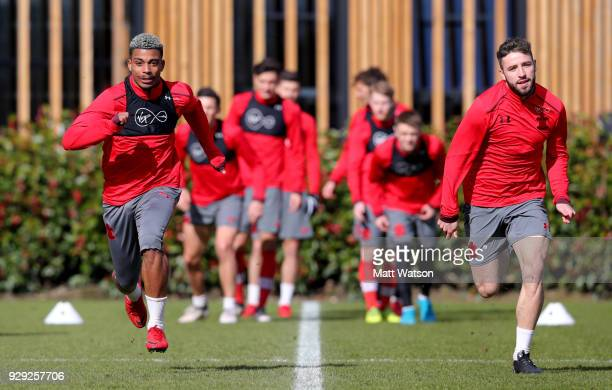 Mario Lemina and Sam McQueen during a Southampton FC training session at the Staplewood Campus on March 8 2018 in Southampton England