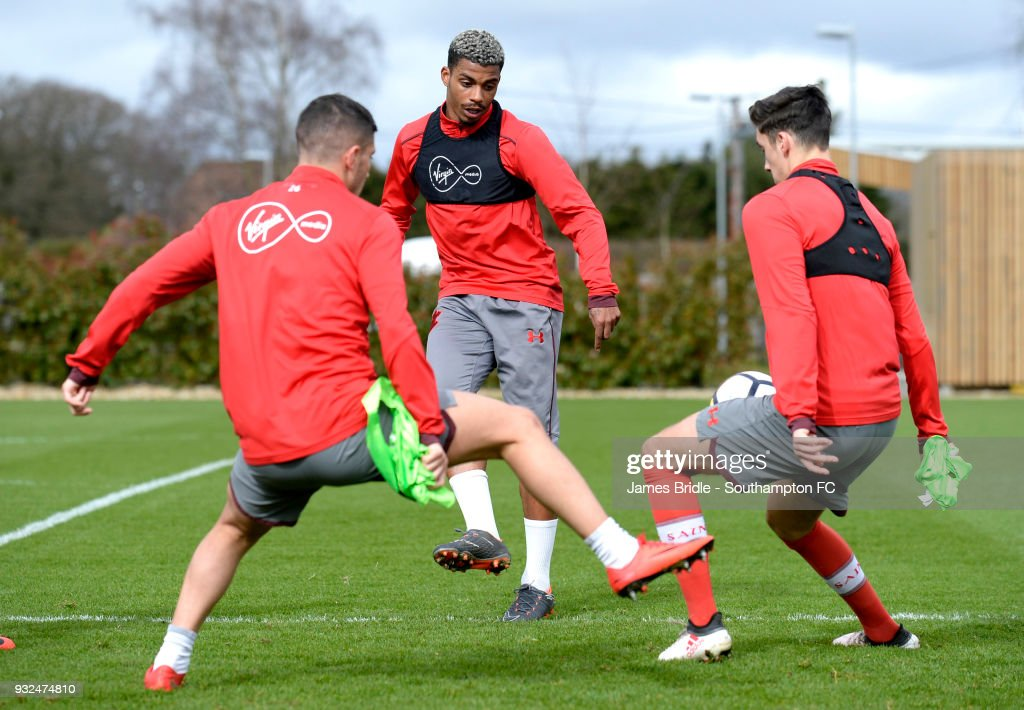 Mario Lemina (C) during a Southampton FC first team training session at Staplewood Complex on March 15, 2018 in Southampton, England.