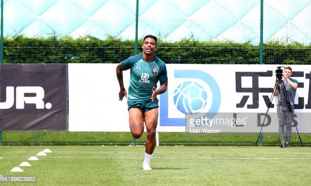 Mario Lemina during Southampton FC's second day of pre season training at the Staplewood Campus on July 02 2019 in Southampton England