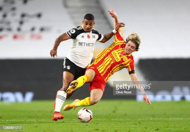 Mario Lemina of Fulham is tackled by Conor Gallagher of West Bromwich Albion during the Premier League match between Fulham and West Bromwich Albion...