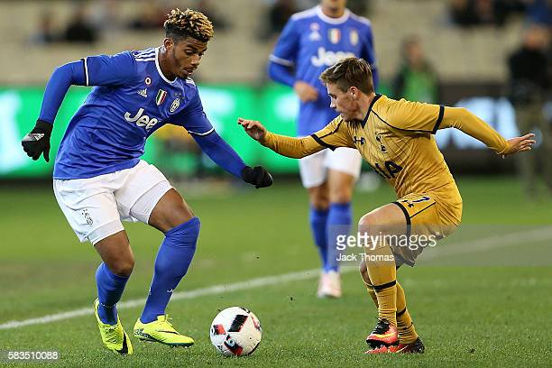 Mario Lemina of Juventus and Will Miller of Tottenham compete for the ball during the 2016 International Champions Cup match between Juventus FC and...