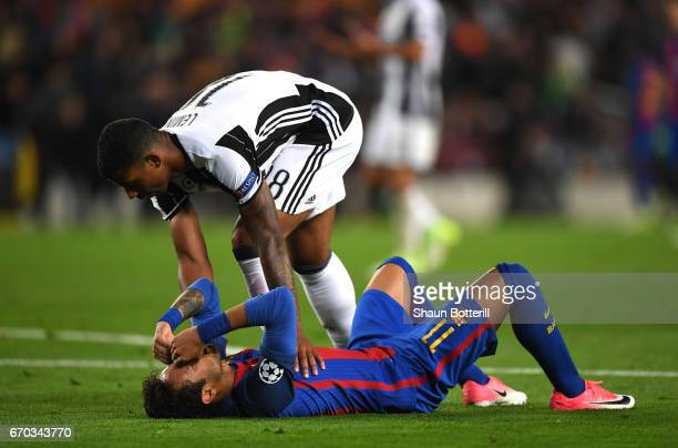 Mario Lemina of Juventus embraces Neymar of Barcelona after the UEFA Champions League Quarter Final second leg match between FC Barcelona and...