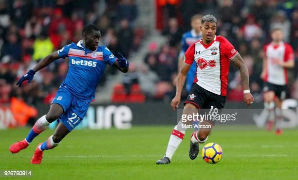 Mario Lemina of Southampton and Badou Ndiaye of Stoke during the Premier League match between Southampton and Stoke City at St Mary's Stadium on...