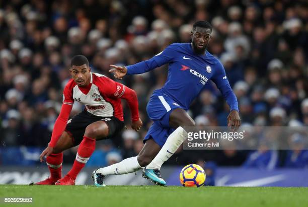 Mario Lemina of Southampton and Tiemoue Bakayoko of Chelsea battle for posession during the Premier League match between Chelsea and Southampton at...