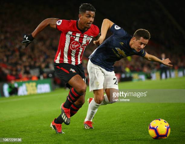 Mario Lemina of Southampton battles for possession with Ander Herrera of Manchester United during the Premier League match between Southampton FC and...