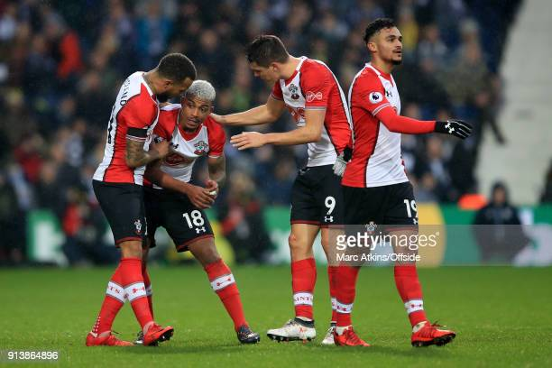 Mario Lemina of Southampton celebrates his goal with Ryan Bertrand Guido Carrillo and Sofiane Boufal during the Premier League match between West...