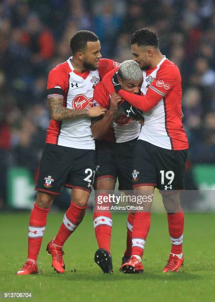 Mario Lemina of Southampton celebrates scoring the equalising goal with Sofiane Boufal and Ryan Bertrand during the Premier League match between West...