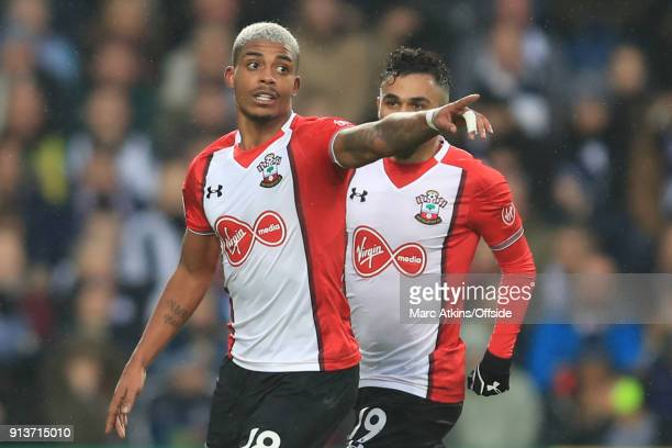 Mario Lemina of Southampton celebrates scoring the equalising goal with Sofiane Boufal during the Premier League match between West Bromwich Albion...