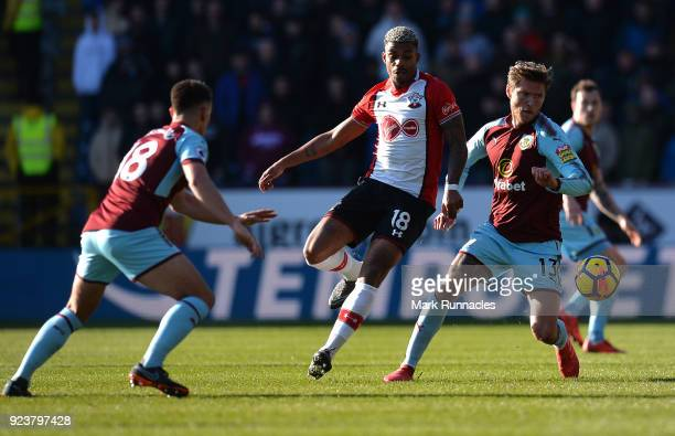 Mario Lemina of Southampton challenges Jeff Hendrick of Burnley during the Premier League match between Burnley and Southampton at Turf Moor on...