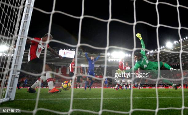 Mario Lemina of Southampton clears off the line during the Premier League match between Southampton and Leicester City at St Mary's Stadium on...
