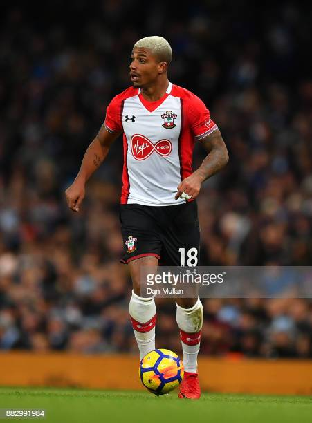 Mario Lemina of Southampton controls the ball during the Premier League match between Manchester City and Southampton at Etihad Stadium on November...