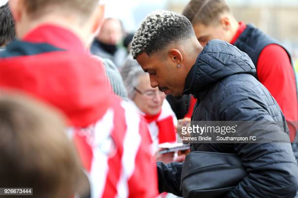 Mario Lemina of Southampton FC signing fan merchandise ahead of the Premier League match between Southampton and Stoke City at St Mary's Stadium on...