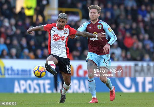 Mario Lemina of Southampton is challenged by Jeff Hendrick of Burnley during the Premier League match between Burnley and Southampton at Turf Moor on...