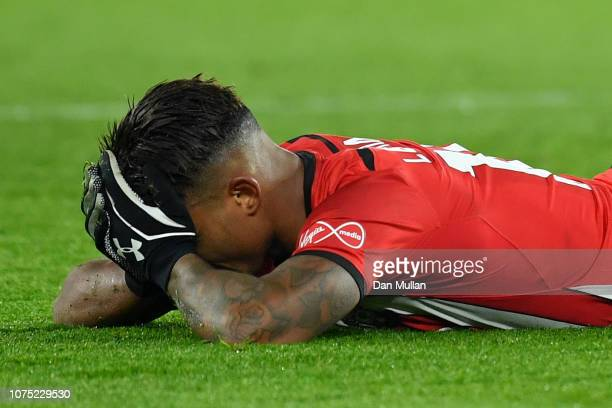 Mario Lemina of Southampton reacts after missing a chance during the Premier League match between Southampton FC and West Ham United at St Mary's...