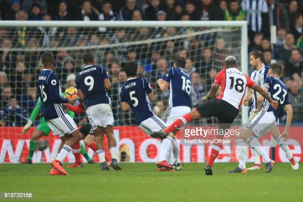 Mario Lemina of Southampton scores their 1st goal during the Premier League match between West Bromwich Albion and Southampton at The Hawthorns on...
